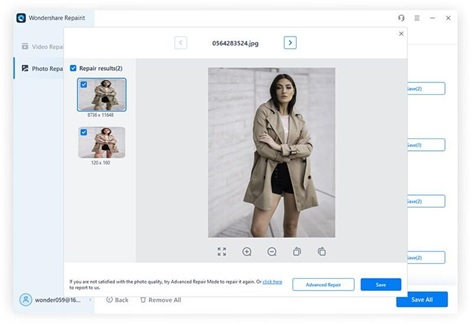 Add image samples & Perform Advanced Repair on Badly damaged photos