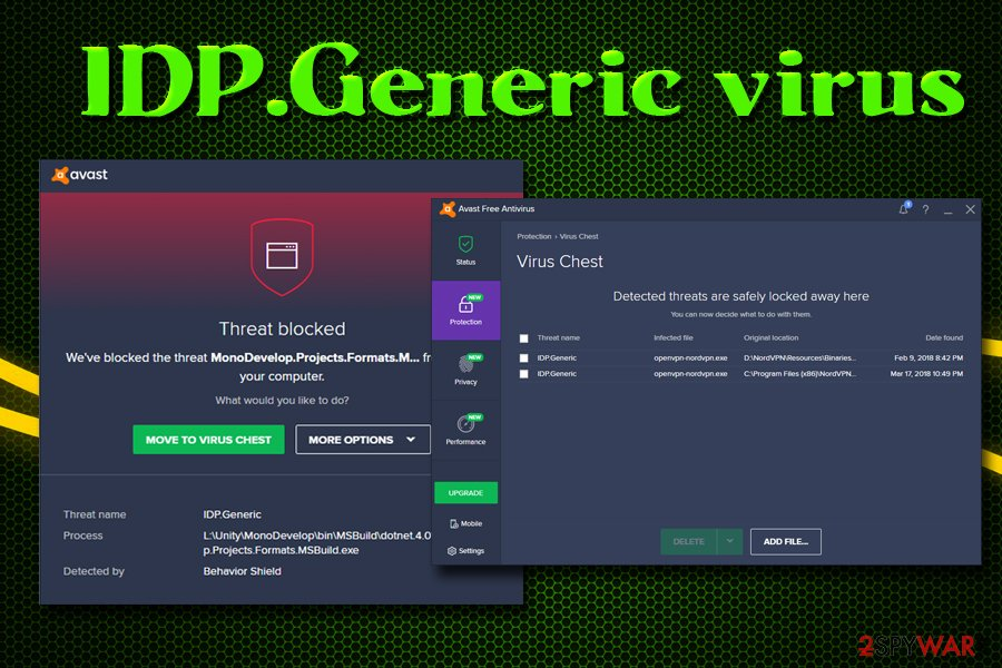Avast Traced idp.generic as Threat