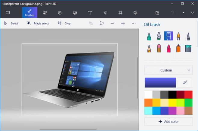 background transparent in paint 3d