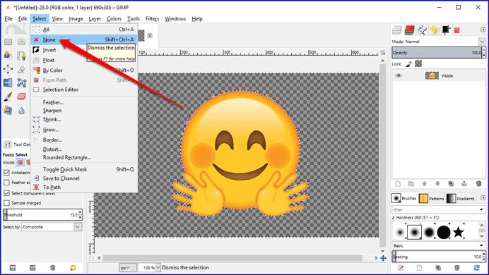 How to make background transparent gimp