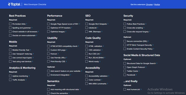 Web Developer Checklist Chrome Extensions